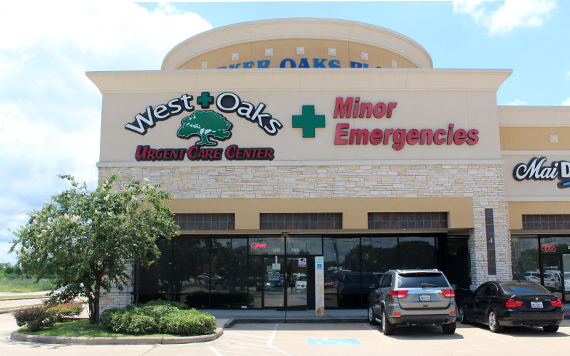 Entrance of WestOaks Urgent Care Center HighWay 6 Location